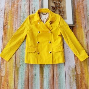 J Crew Trudy Yellow Cotton Double Breasted Peacoat